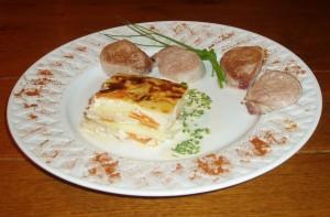 filet mignon de veau gratin aux deux legumes